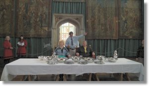 PW gesticulating  at The High Table, Hampton Court